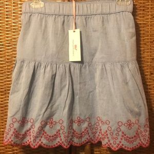 Vineyard Vines NWT chambray skirt w/red sz Large